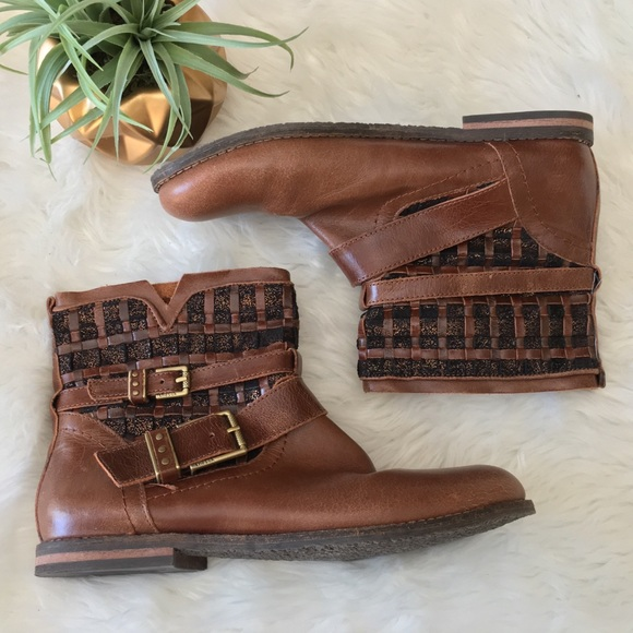 c44d06cb0 Woven Leather Cognac Moto Ankle Boots Booties